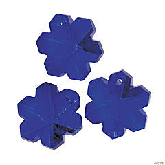 Faceted Blue Snowflake Charms - 20mm