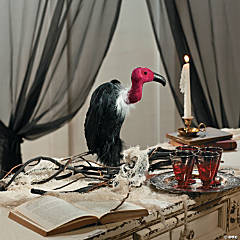 Feathered Black Vulture Halloween Décor