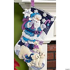 Felt Stocking Applique Kit-Arctic Santa