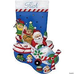 Felt Stocking Applique Kit-Flying Santa