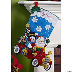 Felt Stocking Applique Kit-Holiday Drive