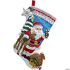 Felt Stocking Applique Kit-Nordic Santa