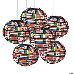 Flags of All Nations Hanging Paper Lanterns