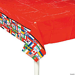 Flags of All Nations Plastic Tablecloth