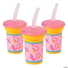 Flamingo Party Cups with Lid & Straw