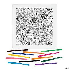 Floral Coloring Canvas Kit