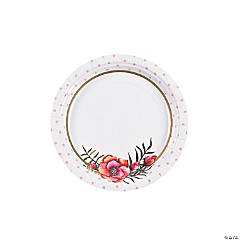 Floral Plaid Bridal Shower Paper Dessert Plates