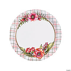 Floral Plaid Bridal Shower Paper Dinner Plates
