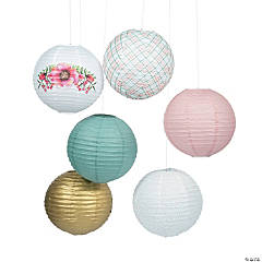 Floral Plaid Paper Lantern Assortment