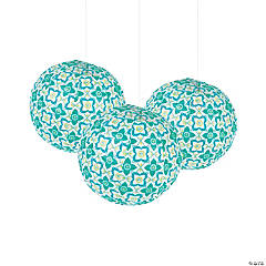 Floral Tile Hanging Lanterns