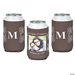 Flourish Monogram Custom Photo Can Coolers