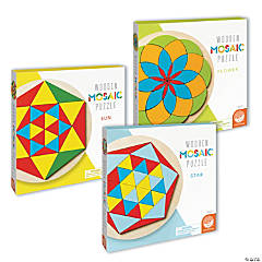 Flower, Sun and Star Mosaic Wood Puzzles: Set of 3