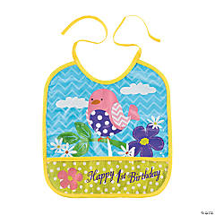 Flowers & Birds 1st Birthday Bib