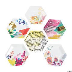 Fluorescent Floral Paper Appetizer Plates