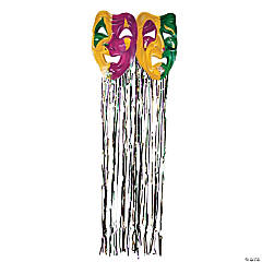 Foil Mardi Gras Mask with Fringe Curtain