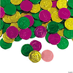 Foil-Wrapped Mardi Gras Bubble Gum Coins