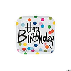 French Bull® Birthday Dots Square Paper Dessert Plates