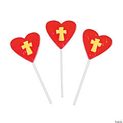 Frosted Cross on Heart Pops