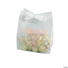 Frosted Silver Wedding Treat Bags