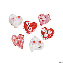 Funky Heart Lampwork Beads - 9mm - 14mm