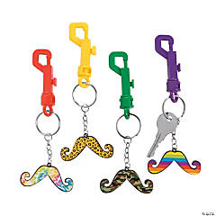 Funky Print Mustache Key Chains