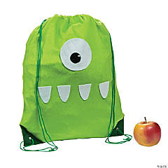 Fuzzy Monster Drawstring Backpack