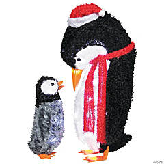 Fuzzy Plush Mommy & Baby Penguin Christmas Decorations