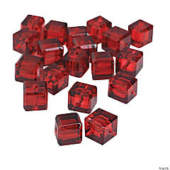 Garnet Cube Cut Crystal Beads - 8mm