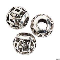 Geometric Cutout Large Hole Beads - 8mm with a 4mm hole