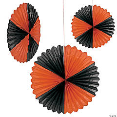 Giant Tissue Orange & Black Hanging Tissue Fan Halloween Décor