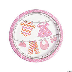 Girl Baby Clothes Paper Dinner Plates