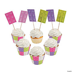 Girl Brick Party Cupcake Wrappers with Picks