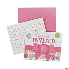 Girl Button Invitations