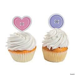 Girl Cute as a Button Cupcake Picks