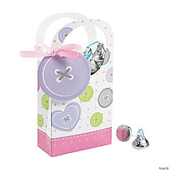 Girl Cute as a Button Favor Boxes