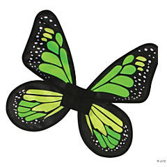 Girl's Green & Lime Green Satin Butterfly Wings