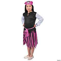 Girl's Pink & Black Pirate Costume