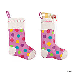 Girl's Polka Dot Christmas Stocking