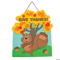 """Give Thanks"" Squirrel Sign Craft Kit"