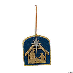 Glitter Nativity Silhouette Christmas Ornament Craft Kit