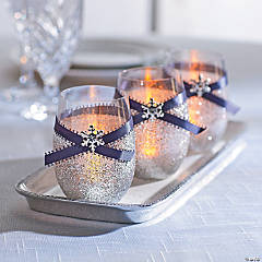 Glitter Snowflake Votive Candle Holder