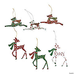 Glittered Deer Christmas Ornaments