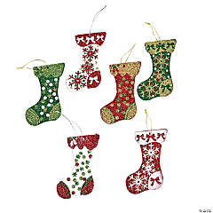 Glittered Stocking Christmas Ornaments