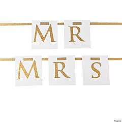 Glittery White & Gold Mr. & Mrs. Chair Décor