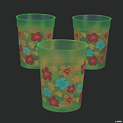 Glow-in-the-Dark Bright Hibiscus Plastic Tumblers