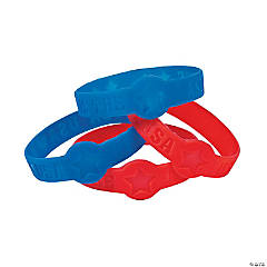 Glow-in-the-Dark Star Cutout Patriotic Rubber Bracelets