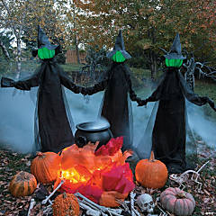 Glowing Face Witch Halloween Décor Set