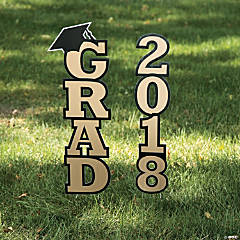 Gold 2018 Grad Yard Sign