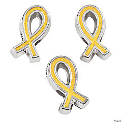 Gold Awareness Ribbon Large Hole Spacers