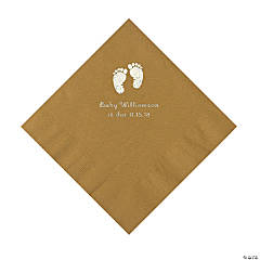 Gold Baby Feet Personalized Napkins with Silver Foil - Beverage